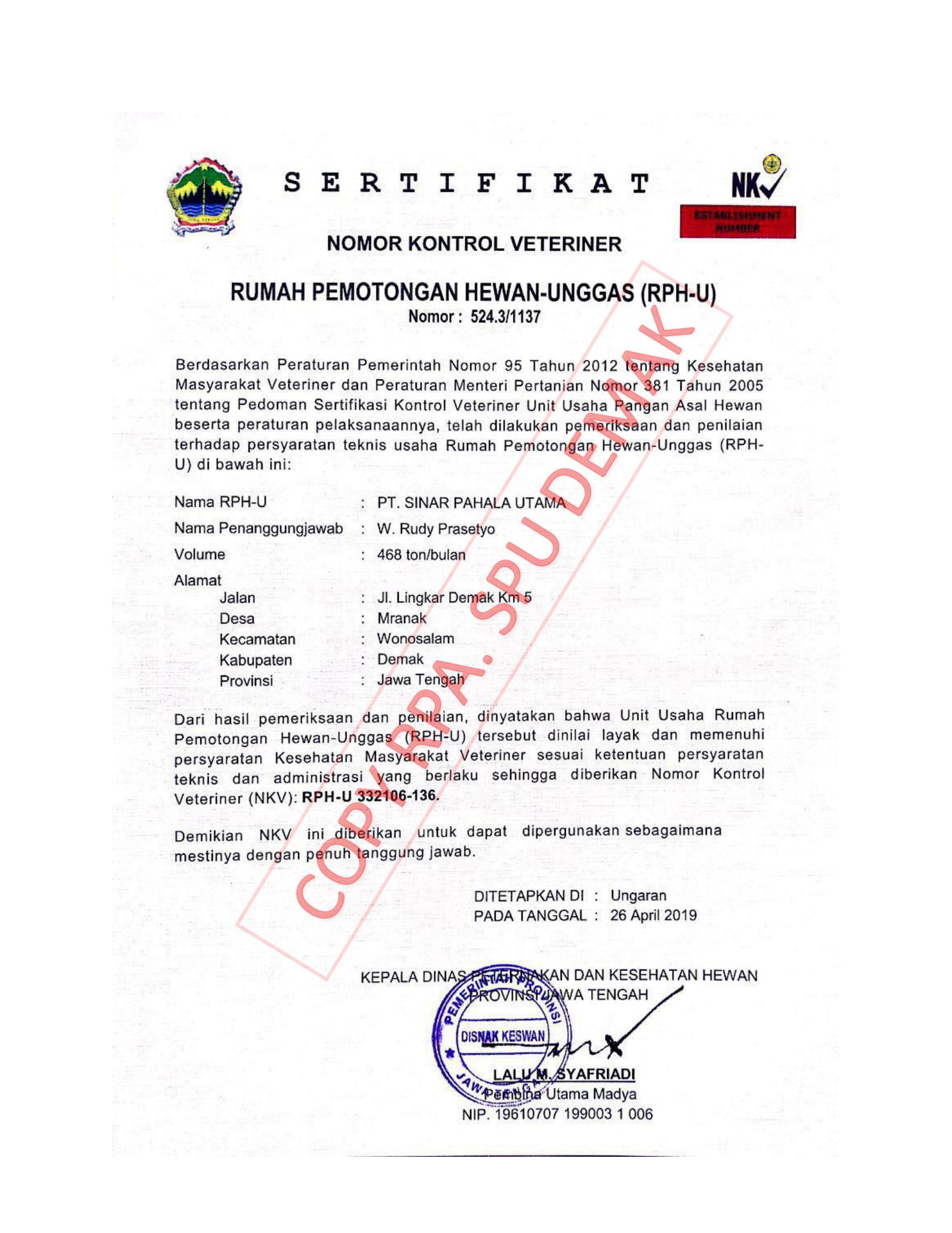 Lampiran sertifikat ijin NKV SPU