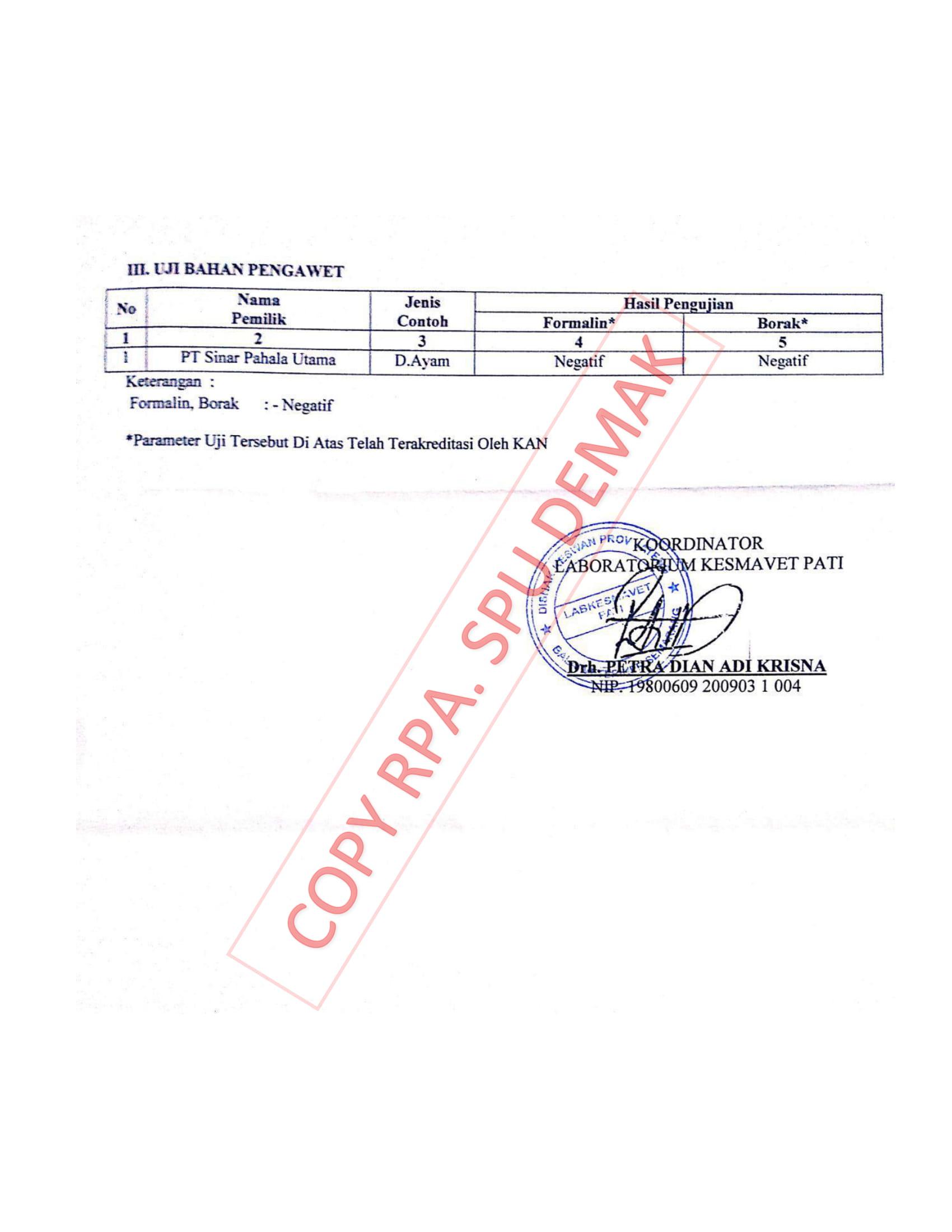 Lampiran uji lab produk COA halaman 2